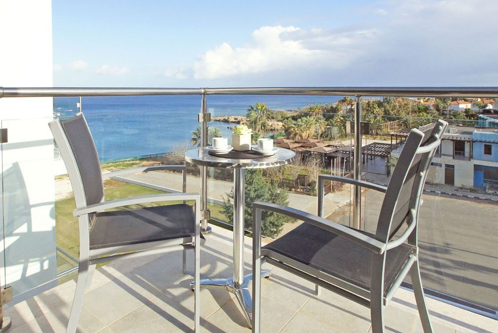 Blue beach apartment balcony